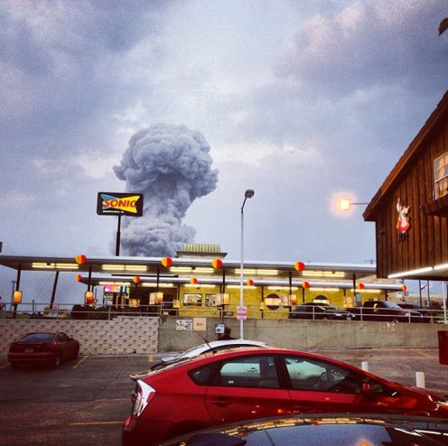 Andy Bartee's Instagram image of the explosion at a fertilizer plant in Texas has been published around the world. The photograph shows that you don't have to have expensive camera equipment to get a dramatic news photograph, you've got to be in the right place at the right time